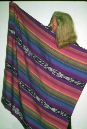 Sixty-inch square shawl with ikat stripes in luxurious silk